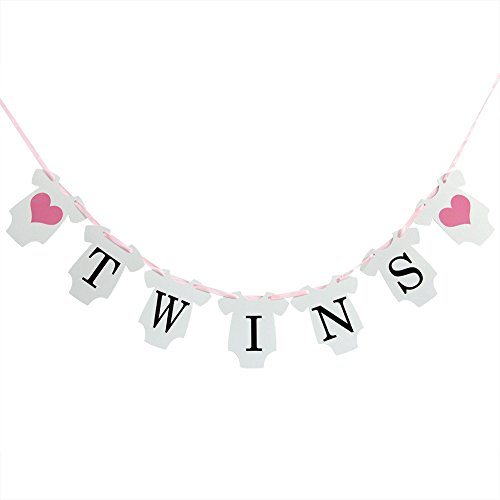 INNORU(TM It is Twins Baby Show Banner Decorations Gender Reveal Party for Baby Girl Banners