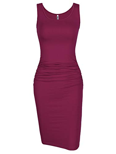 Missufe Women's Ruched Casual Knee Length Bodycon Sundress Basic Fitted Dress (Sleeveless Purple, Small)