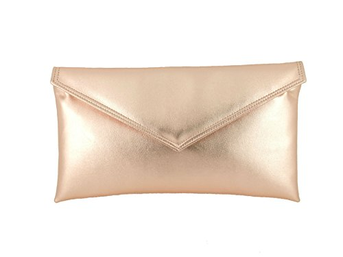 Faux Enveloppe Pochette Main d'epaule Sac À rose Cuir Metallique gold Sac qt0wPf