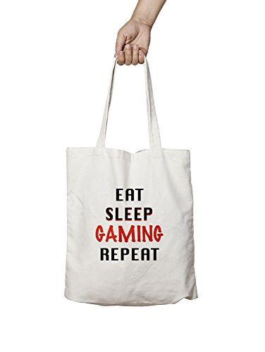 THEDARKPAPER EAT SLEEP GAMING Cotton Tote Bag, Men Women Unisex, Casual Gift, Hobby Canvas Collection