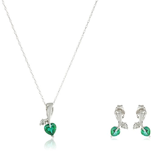 10k White Gold Created Emerald and Diamond Accent Leaf Heart Pendant Necklace and Earrings Jewelry Set, (Diamond Emerald Jewelry Set)