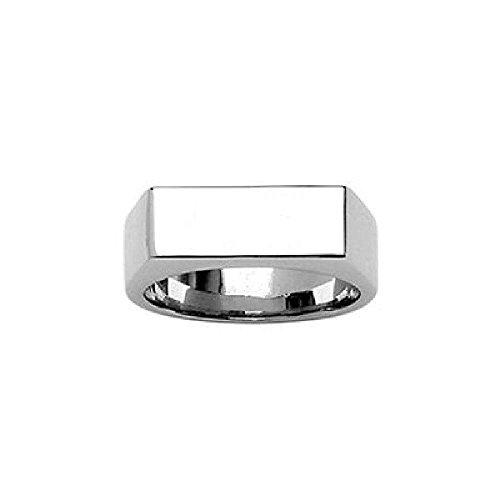 So Chic Jewels - Stainless Steel Rectangular Signet Ring - Customisable: Your Message Engraved Free - Size 12.5