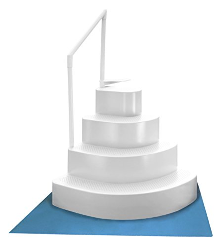 (Blue Wave NE110WH Wedding Cake Above Ground Pool Step with Liner Pad, White)