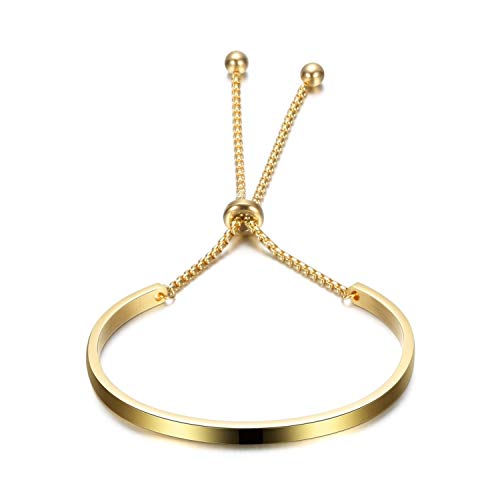 Designer Inspired Titanium Steel Open Cuff Bangle Bracelet with Adjustable Venetian Chain (Gold) ()