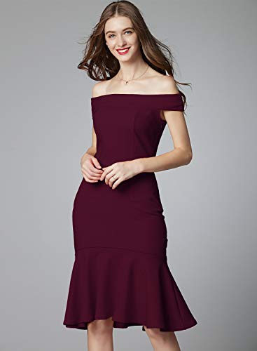 Wine Party Women's Formal Bodycon The Off Evening Dress Knitee Shoulder z4qwB
