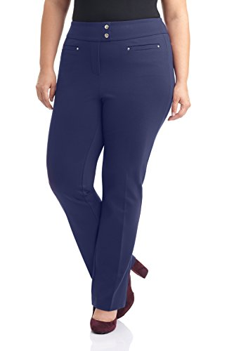 (Rekucci Curvy Woman Secret Figure Knit Plus Size Straight Pant w/Tummy Control (16W,Navy))
