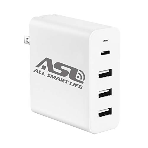 USB C Wall Charger 60W, Allsmartlife 4-Port USB Charger Station with One 45W USB C PD Port for MacBook Pro, Nexus 5X/ 6P, Nintendo Switch and 3 USB Smart IC Ports for iPhone, iPad, Samsung and More