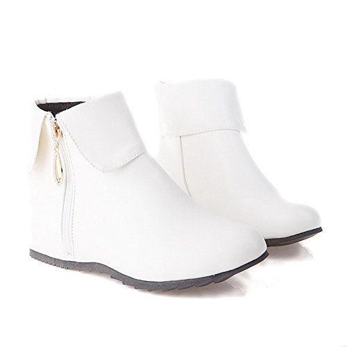 Material Soft Zipper Low Round White Women's Boots Kitten top AgooLar Toe Closed Heels qwXRZgt