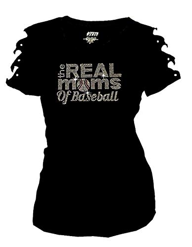 Real Moms of Baseball Bling Rhinestones T-Shirt Ripped Cut Out Short (3X-Large)