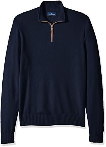 BUTTONED DOWN Men's 100% Premium Cashmere Quarter-Zip Sweater, Midnight Navy, Small ()