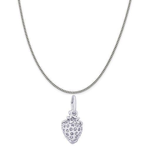 Rembrandt Charms 14K White Gold Strawberry Charm on a 14K White Gold Curb Chain Necklace, 20