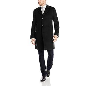 Kenneth Cole REACTION Men's Raburn Wool Top Coat, Black, 44 Short