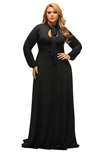 (Lalagen Women's Vintage Long Sleeve Plus Size Evening Party Maxi Dress Gown Black XXXL)