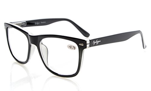 Eyekepper Readers Square Large Lenses Spring-Hinges Reading Glasses Men Women Black 2.5