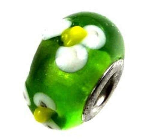 (1 Bead) Lampwork Handmade Bead Big Hole Fit Bracelet Charm Green White Yellow Flower ()