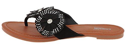 Capelli New York Faux Läder Med Lyckohjul Damer Flip Flops Svart