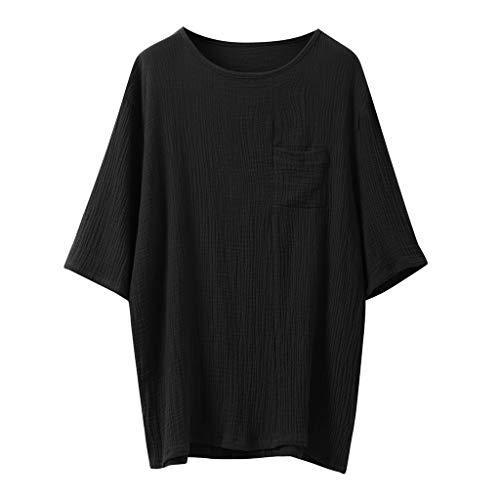 Realdo Mens Cotton Linen T-Shirt,Men's Plain SOID Short Sleeve Pleated Retro Shirts Tops Black