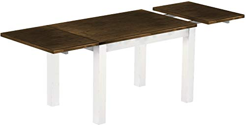- Brazilfurniture Dining Table Extended Rio, 86.6 x 31.5 Oak Antique White Solid Pine Wood Oiled, Extensions Included, Coffee Modern Wooden Office Conference Desk Kitchen