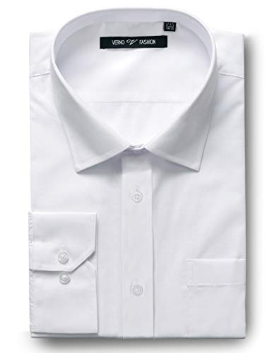 - Verno Fashion Men's Classic Fit Long Sleeve Dress Shirt-Wrinkle Resistant Fabric (19-19 1/2-36/37, White)