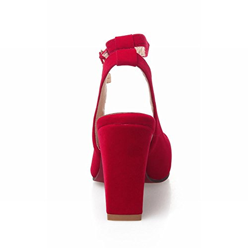 Mee Shoes Women's Fashion High Heel Ankle Strap Block Heel Court Shoes Red uH4fdy6