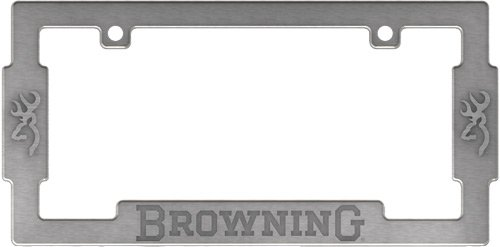 Browning Buckmark Logo Aged Nickel Finish License Plate Metal Frame