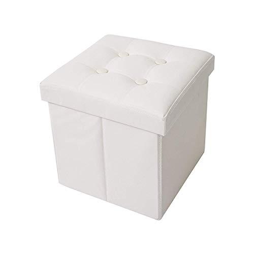 Misure Pouf.Rebecca Mobili Pouf Contenitore In Ecopelle Puffo Puff Cubo Poggiapiedi Bianco Misure 30 X 30 X 30 Cm Hxlxp Art Re4256