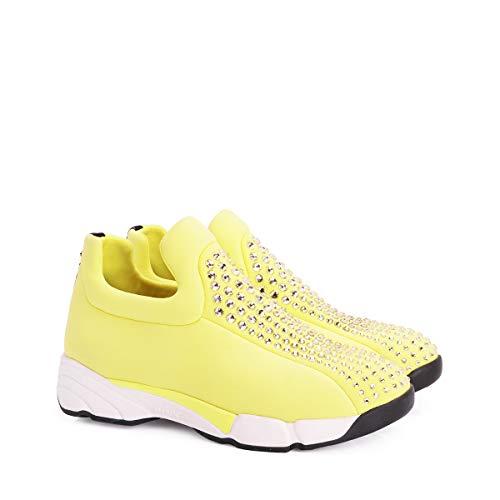 36 strass Sneakers On Giallo Eu Thay Pinko Donna Slip Neoprene aHgF1xqx