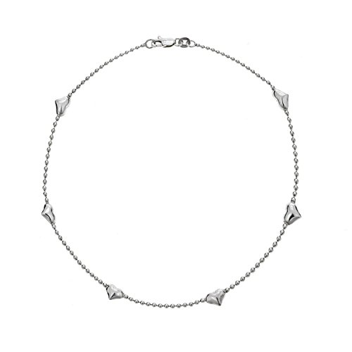 Ritastephens Sterling Silver Station Heart Beaded Anklet 10 Inches