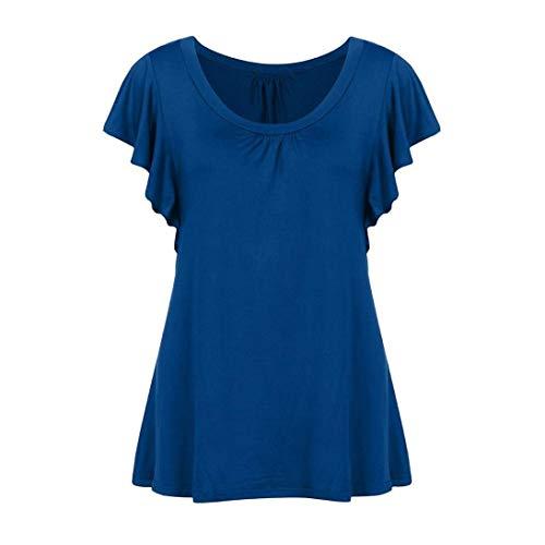 Swing O Costume Casual Mode Courtes Femme Chic Shirt Et T Manche Manches Plier Tee Uni Tops Col lgant Tshirt Shirt Blau Large wqTzfg
