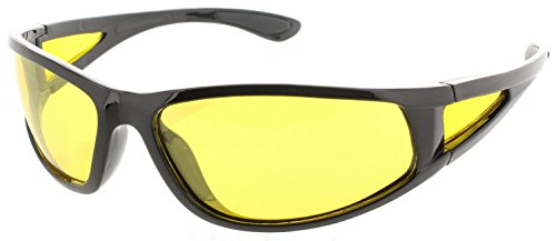 Fiore HD Night Driving Sunglasses Aviator Sport Wrap Glasses (Polarized Sport Wrap | Black, Yellow)