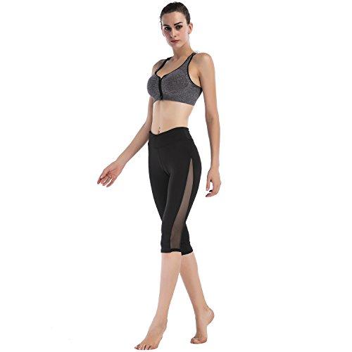 d80c7a11154 Imido Women's Mesh Yoga Capri Pants Workout Running Crop Leggings ...