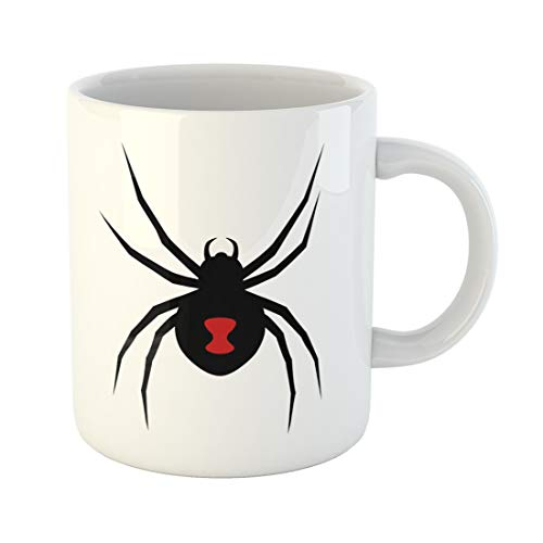 Semtomn Funny Coffee Mug Black Widow Spider Red Marking Flat for Apps 11 Oz Ceramic Coffee Mugs Tea Cup Best Gift Or -