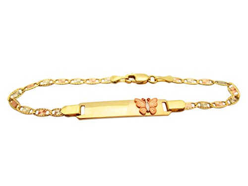 Children's Babies 10k Tri Gold Valentino link ID Bracelet 5.5 inch With Butterfly by AMZ Jewelry