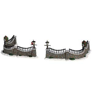 2006 Stone Wall Set of 6 Village Table Accents Lemax 63576