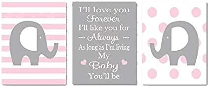 Lovely Cartoon Elephant and Warm Love Letter for Baby Canvas Picture Frames Wall Art Nursery Canvas Print for Babys Room Girls Room 3 Panels Canvas Set Each Size is 30cm x 40cm 11.8 x 15.7