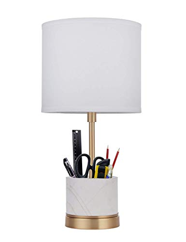 Antique Brass Plating - Doraimi 1 Light Marble Pen Holder Desk Lamp with Plating Antique Brass Finish, Modern and Concise Style Desk Lamp with Off-White Fabric Shade for Bedroom, Living Room,Office.(Included a 10W CFL Bulb)