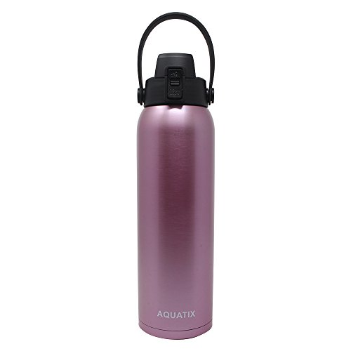 New Aquatix (Rose Gold, 32 Ounce) Pure Stainless Steel Double Wall Vacuum Insulated Sports Water Bottle Convenient Flip Top Cap with Removable Strap Handle - Keeps Drink Cold 24 hr/Hot ()