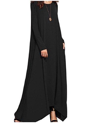 Coolred-femmes Couleur Pure Poche Ourlet Mouchoir Surdimensionné Noir Long Robe Maxi