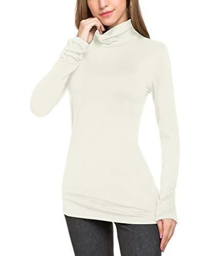 Le Vonfort Close Neck Tops for Women, Stylish Long Sleeve Stretchy Basic Blouses White XX-Large