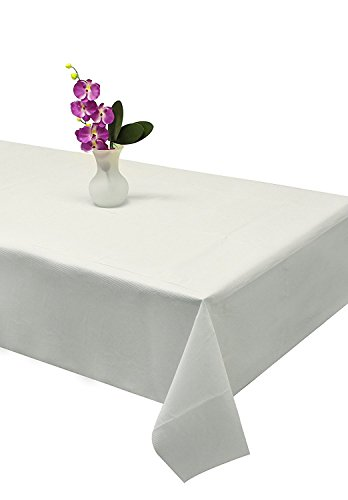 Party Bargains Disposable Table Cover | Classic White Paper 3 Ply Premium & Elegant Plastic Table Covers - Size 54'' X 108'' | Pack of 5 by Party Bargains (Image #1)