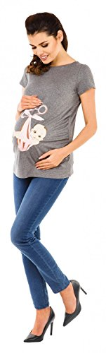 Zeta Ville - Camiseta Premamá T-shirt bebé divertido estampado - para mujer 513c Mezcla De Grises