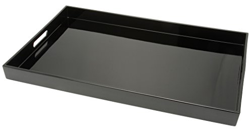 Kotobuki Rectangular Lacquer Serving Tray, 18-3/4-Inch, Black