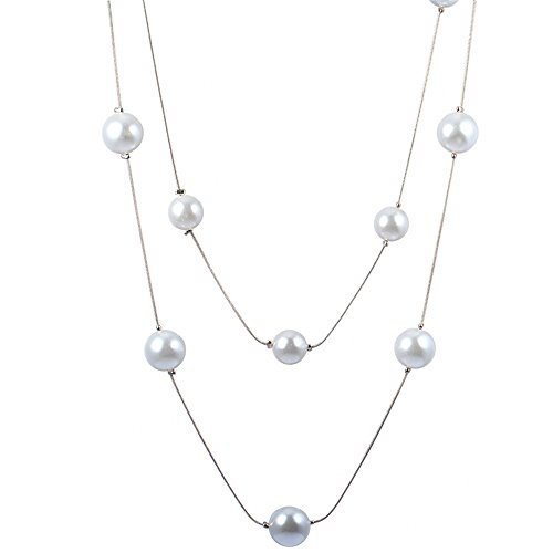 Long Necklaces 2 Layers Sweater Bead Necklaces for Women with Simulated Pearl Silver (Hot Dollar Halloween Costumes)