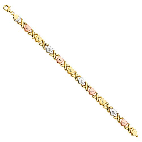 (14k Tri Color Gold Stampato Bracelet - 7.5