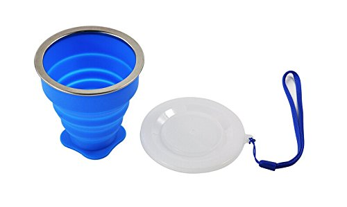 UMI Direct® 2 PCS Silicone Outdoor Collapsible Travel Drinking Cup/Portable Collapsible Travel Camping Mug Silicone BPA-Free Silicon Cup Pop-up Travel Bowl Travel Cup for Camping and Hiking(Blue,Pink)