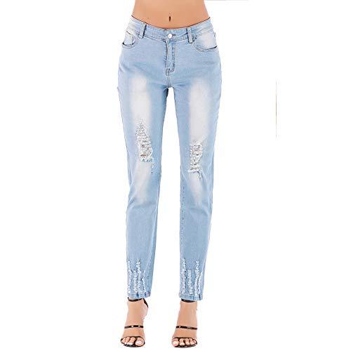 Mode Jeans Slim Taille Sfsf Grande Extensible Sauvage Coupe De Couleur Haut Moyenne Claire Femme Pantalon Femme Trou Rue 36 Pour xCrBoWde