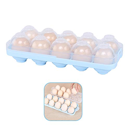 Egg Holder Kitchen Egg Tray, Clear Egg Storage Container Kitchen with Lid for Refrigerator Portable Egg Case Storage Bin for Fridge Camping, 10/20 Eggs Box Carrier ()