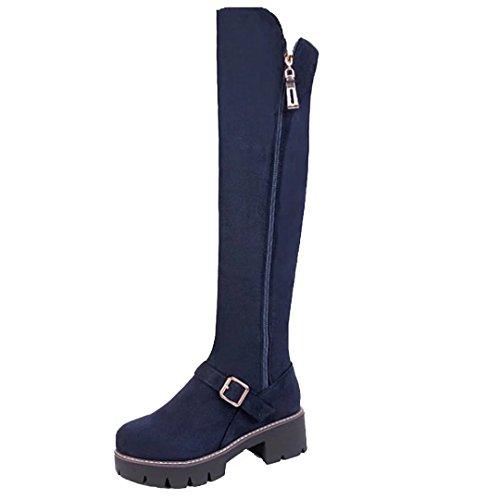AIYOUMEI Damen Blockabsatz Overknee Stiefel mit Schnalle und Reißverschluss Bequem Modern Langschaft Stiefel Schuhe Blau