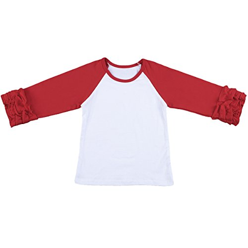 Fitted Baseball Tee (IWEMEK Toddler Little Girl's Icing Ruffle Shirts Cotton Long Sleeve Raglan Shirts Baby Tee T-Shirt Top 12 Months-8 Years)