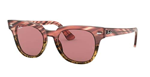 Ray-Ban RB2168 METEOR 1253U0 50M Pink Gradient Beige Striped/Violet Photo Mirror Gold Sunglasses For Men For Women